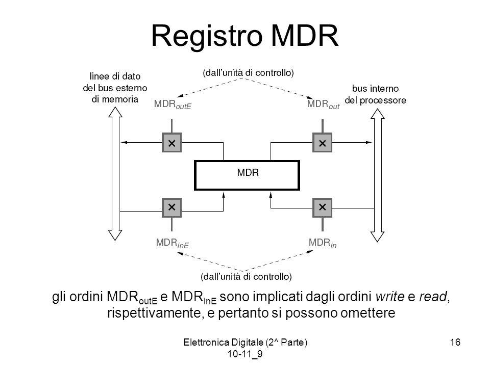 Elettronica Digitale (2^ Parte) 10-11_9 16 Registro MDR gli ordini MDR outE e MDR inE sono implicati dagli ordini write e read, rispettivamente, e pertanto si possono omettere