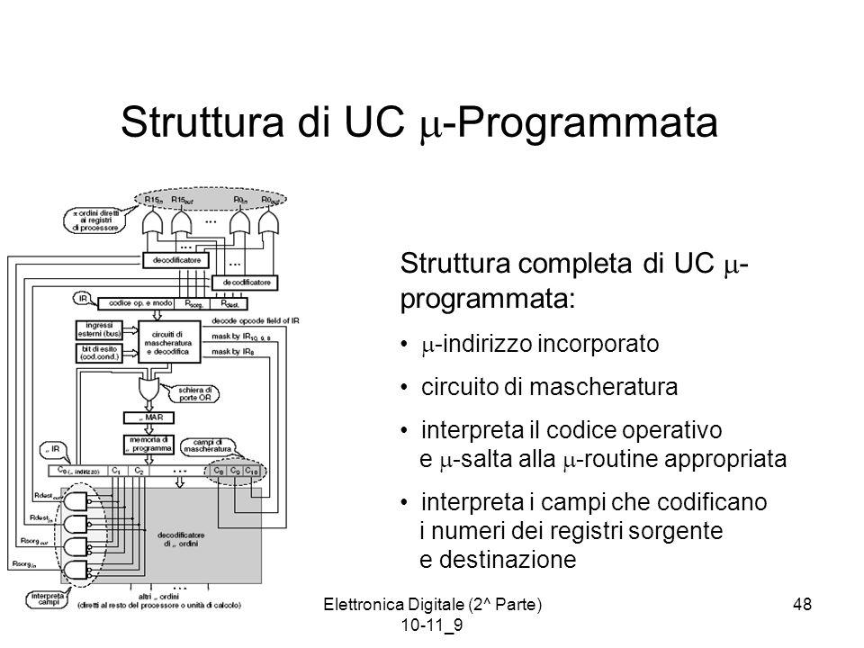 Elettronica Digitale (2^ Parte) 10-11_9 48 Struttura di UC  -Programmata Struttura completa di UC  - programmata:  -indirizzo incorporato circuito di mascheratura interpreta il codice operativo e  -salta alla  -routine appropriata interpreta i campi che codificano i numeri dei registri sorgente e destinazione