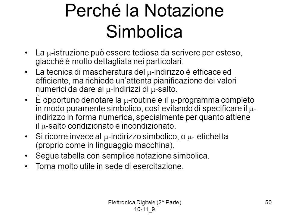 Elettronica Digitale (2^ Parte) 10-11_9 50 Perché la Notazione Simbolica La  -istruzione può essere tediosa da scrivere per esteso, giacché è molto dettagliata nei particolari.