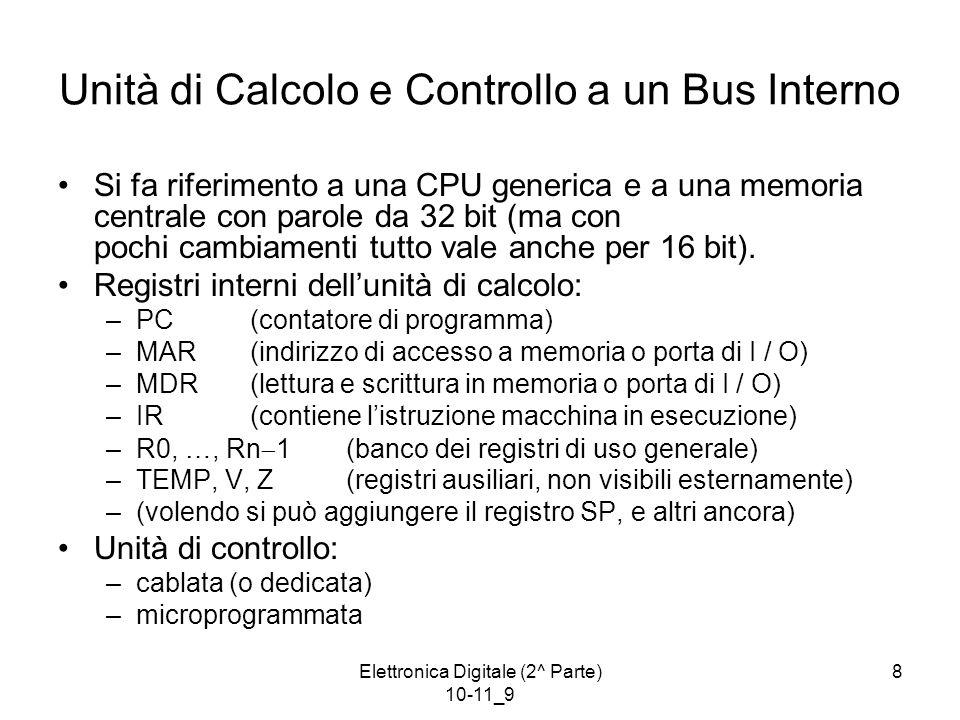 Elettronica Digitale (2^ Parte) 10-11_9 8 Unità di Calcolo e Controllo a un Bus Interno Si fa riferimento a una CPU generica e a una memoria centrale con parole da 32 bit (ma con pochi cambiamenti tutto vale anche per 16 bit).