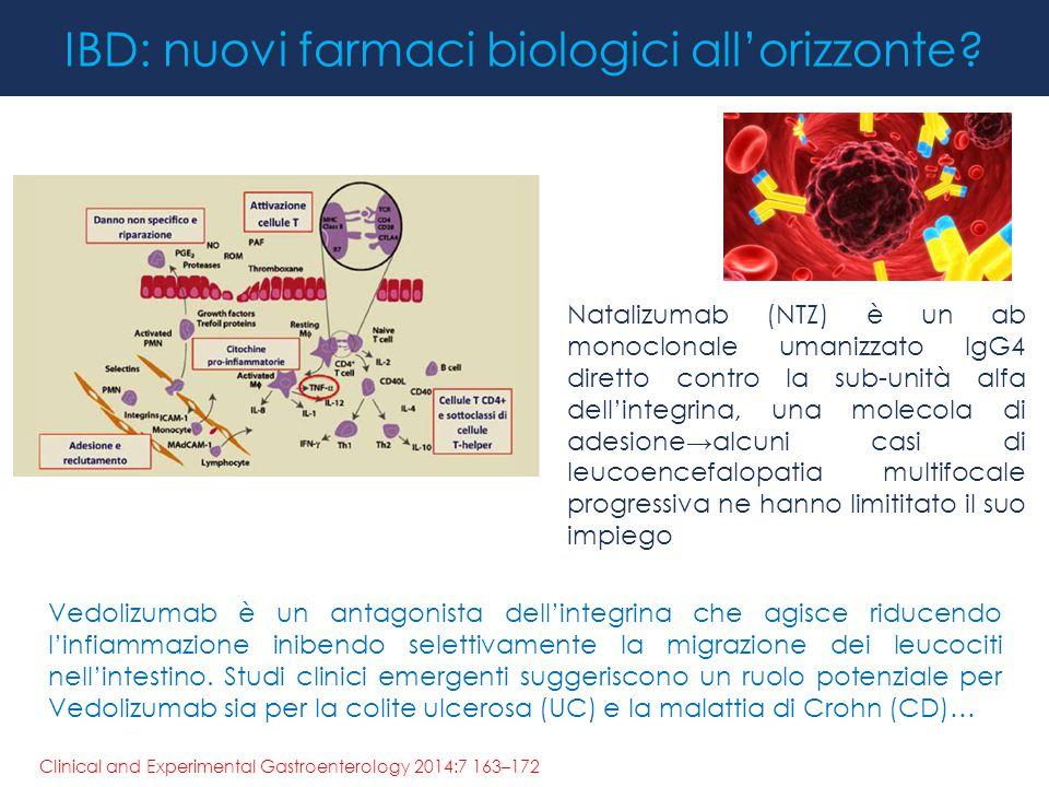 IBD: nuovi farmaci biologici all'orizzonte? Natalizumab (NTZ) è un ab monoclonale umanizzato IgG4 diretto contro la sub-unità alfa dell'integrina, una