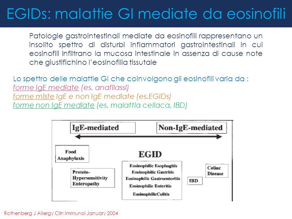 EGIDs: malattie GI mediate da eosinofili Patologie gastrointestinali mediate da eosinofili rappresentano un insolito spettro di disturbi infiammatori