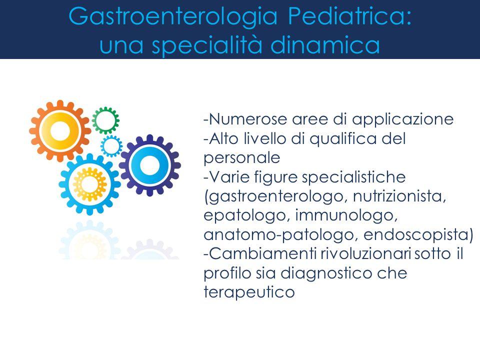 Gastroenterologia Pediatrica: una specialità dinamica -Numerose aree di applicazione -Alto livello di qualifica del personale -Varie figure specialist