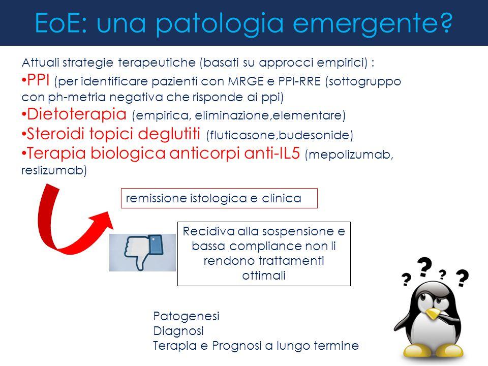 remissione istologica e clinica EoE: una patologia emergente? Attuali strategie terapeutiche (basati su approcci empirici) : PPI (per identificare paz
