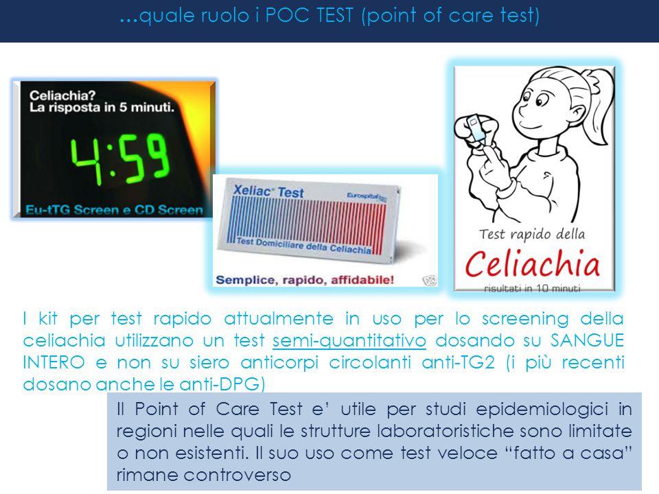 I kit per test rapido attualmente in uso per lo screening della celiachia utilizzano un test semi-quantitativo dosando su SANGUE INTERO e non su siero