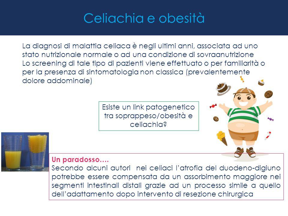 Celiachia e obesità La diagnosi di malattia celiaca è negli ultimi anni, associata ad uno stato nutrizionale normale o ad una condizione di sovraanutr