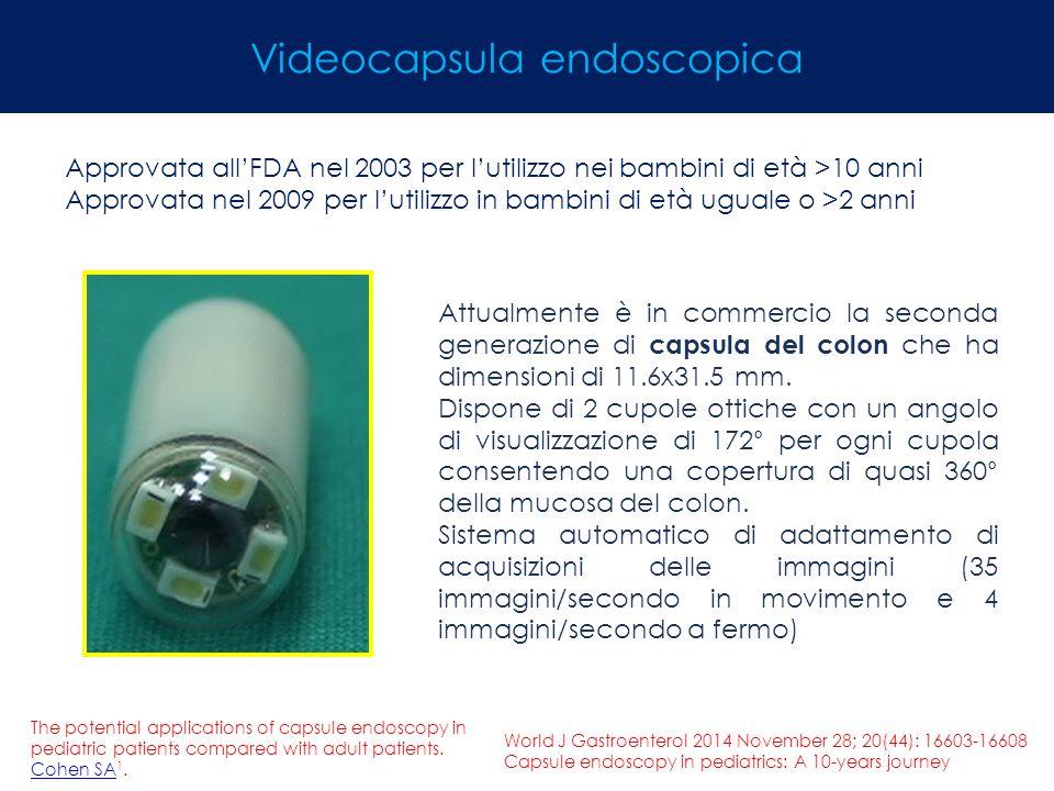 Videocapsula endoscopica Approvata all'FDA nel 2003 per l'utilizzo nei bambini di età >10 anni Approvata nel 2009 per l'utilizzo in bambini di età ugu