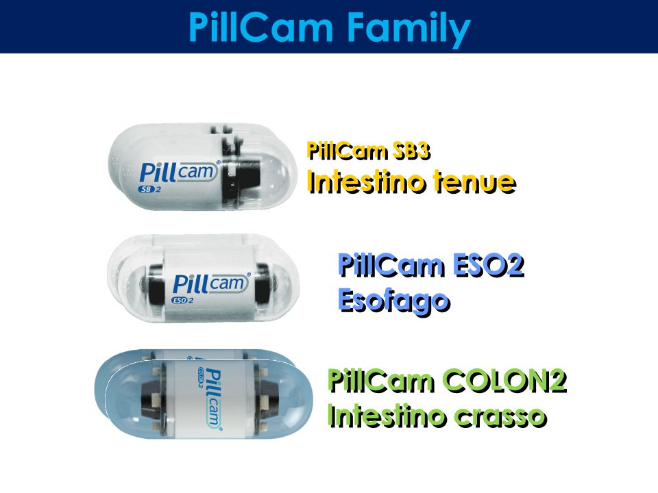 PillCam SB3 Intestino tenue PillCam ESO2 Esofago PillCam COLON2 Intestino crasso PillCam Family
