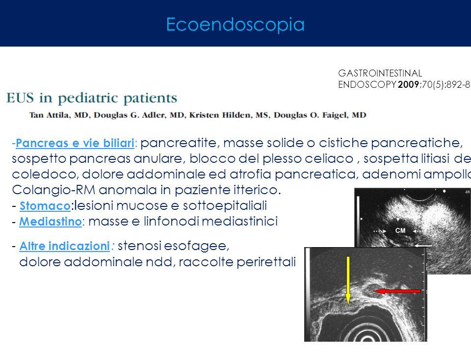 GASTROINTESTINAL ENDOSCOPY 2009 ;70(5):892-8 - Pancreas e vie biliari : pancreatite, masse solide o cistiche pancreatiche, sospetto pancreas anulare,