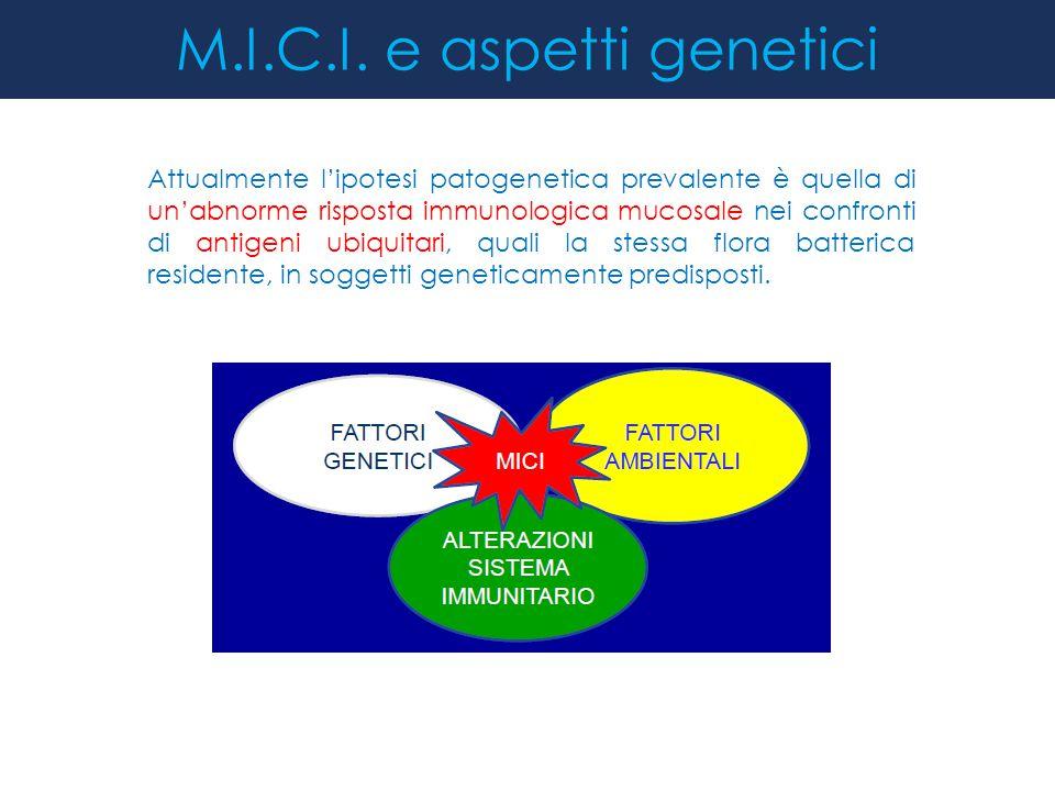 M.I.C.I. e aspetti genetici Attualmente l'ipotesi patogenetica prevalente è quella di un'abnorme risposta immunologica mucosale nei confronti di antig