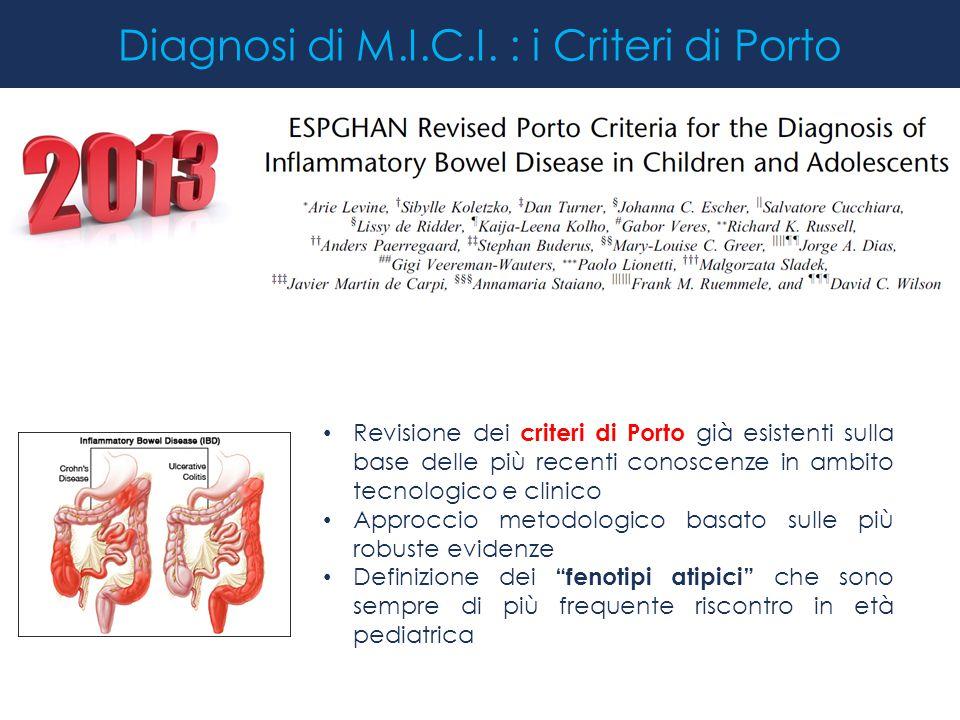 Diagnosi di M.I.C.I. : i Criteri di Porto Revisione dei criteri di Porto già esistenti sulla base delle più recenti conoscenze in ambito tecnologico e