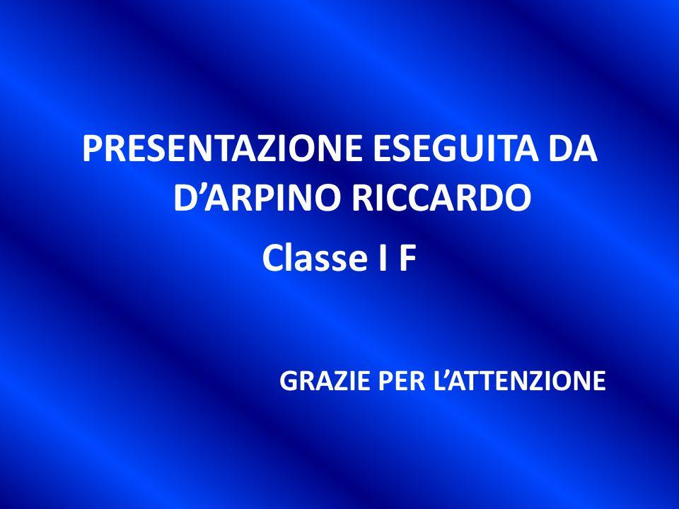 PRESENTAZIONE ESEGUITA DA D'ARPINO RICCARDO Classe I F GRAZIE PER L'ATTENZIONE
