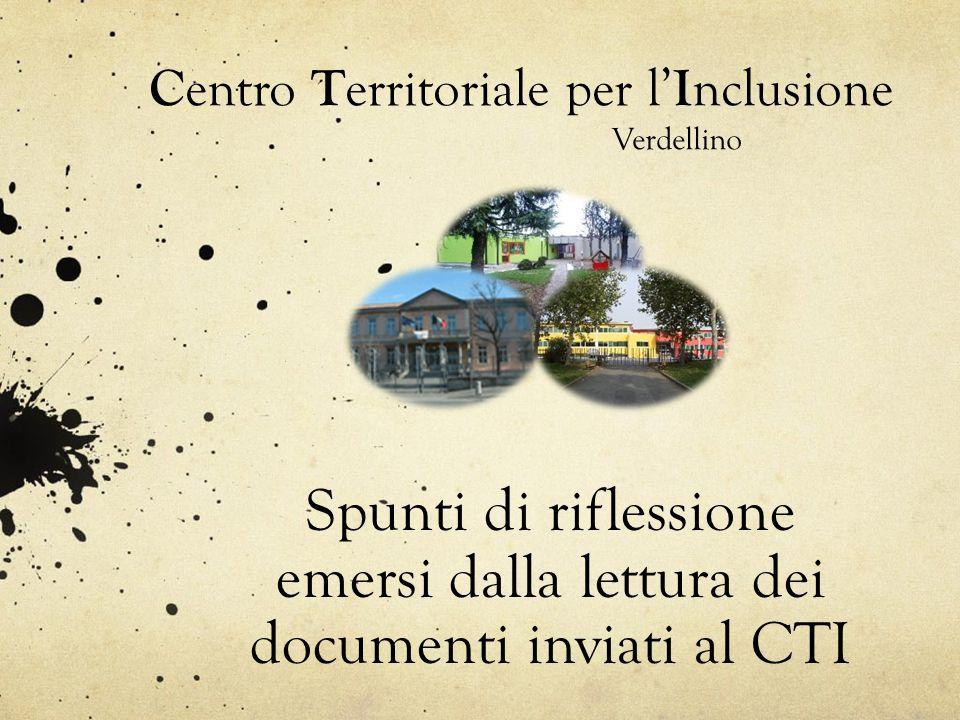 C entro T erritoriale per l' I nclusione Verdellino Spunti di riflessione emersi dalla lettura dei documenti inviati al CTI