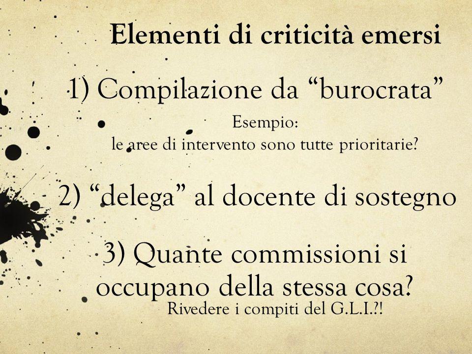 """Elementi di criticità emersi 2) """"delega"""" al docente di sostegno 1) Compilazione da """"burocrata"""" Esempio: le aree di intervento sono tutte prioritarie?"""