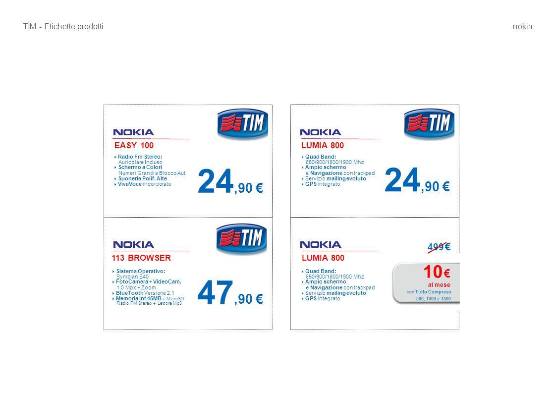 EASY 100 24,90 € LUMIA 800  Radio Fm Stereo: Auricolare Incluso  Schermo a Colori Numeri Grandi e Blocco Aut.