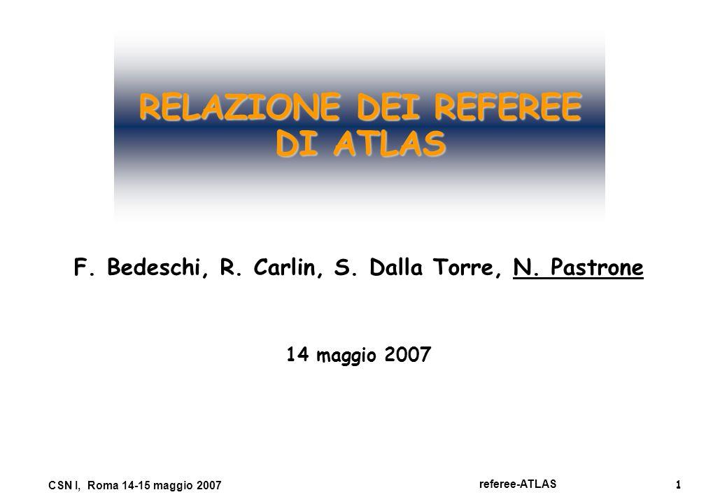1 referee-ATLAS CSN I, Roma 14-15 maggio 2007 RELAZIONE DEI REFEREE DI ATLAS F. Bedeschi, R. Carlin, S. Dalla Torre, N. Pastrone 14 maggio 2007