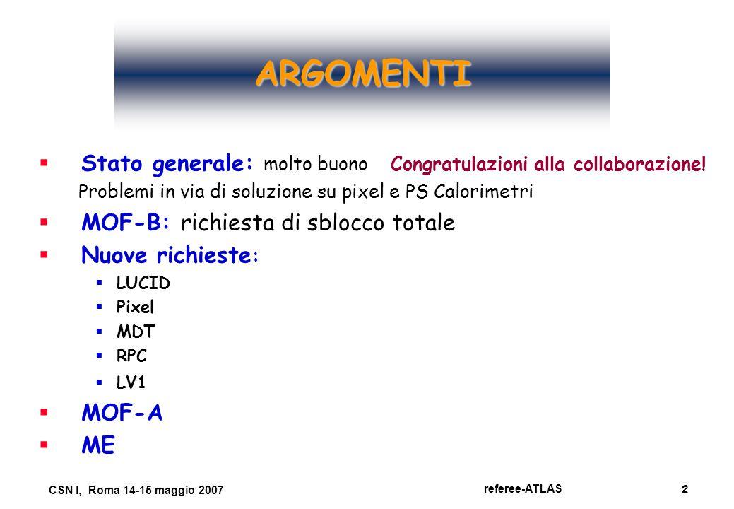 2 referee-ATLAS CSN I, Roma 14-15 maggio 2007 ARGOMENTI   Stato generale: molto buono Congratulazioni alla collaborazione! Problemi in via di soluzi