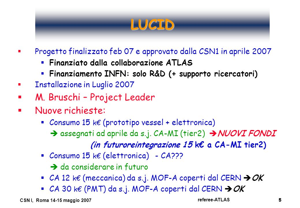 5 referee-ATLAS CSN I, Roma 14-15 maggio 2007 LUCID   Progetto finalizzato feb 07 e approvato dalla CSN1 in aprile 2007  Finanziato dalla collaborazione ATLAS  Finanziamento INFN: solo R&D (+ supporto ricercatori)   Installazione in Luglio 2007   M.