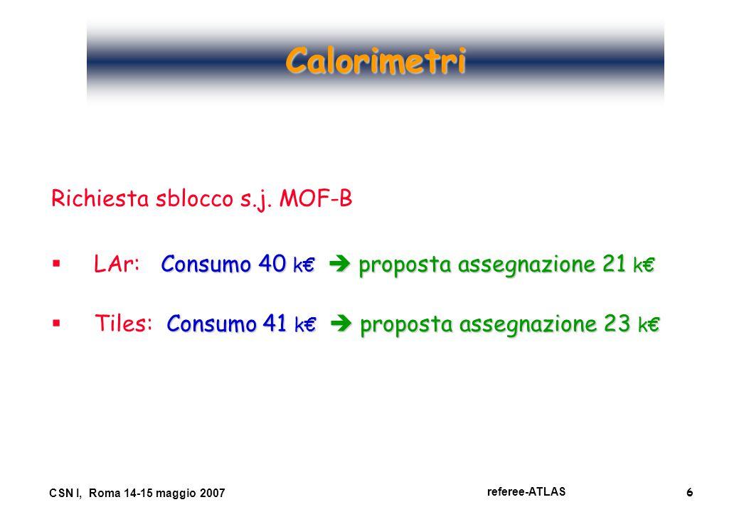 6 referee-ATLAS CSN I, Roma 14-15 maggio 2007 Calorimetri Richiesta sblocco s.j. MOF-B  Consumo 40 k€  proposta assegnazione 21 k€  LAr: Consumo 40