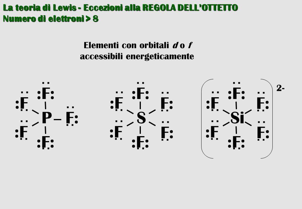 La teoria di Lewis - Eccezioni alla REGOLA DELL'OTTETTO Numero di elettroni > 8 Elementi con orbitali d o f accessibili energeticamente P ·· :F: ·· ··