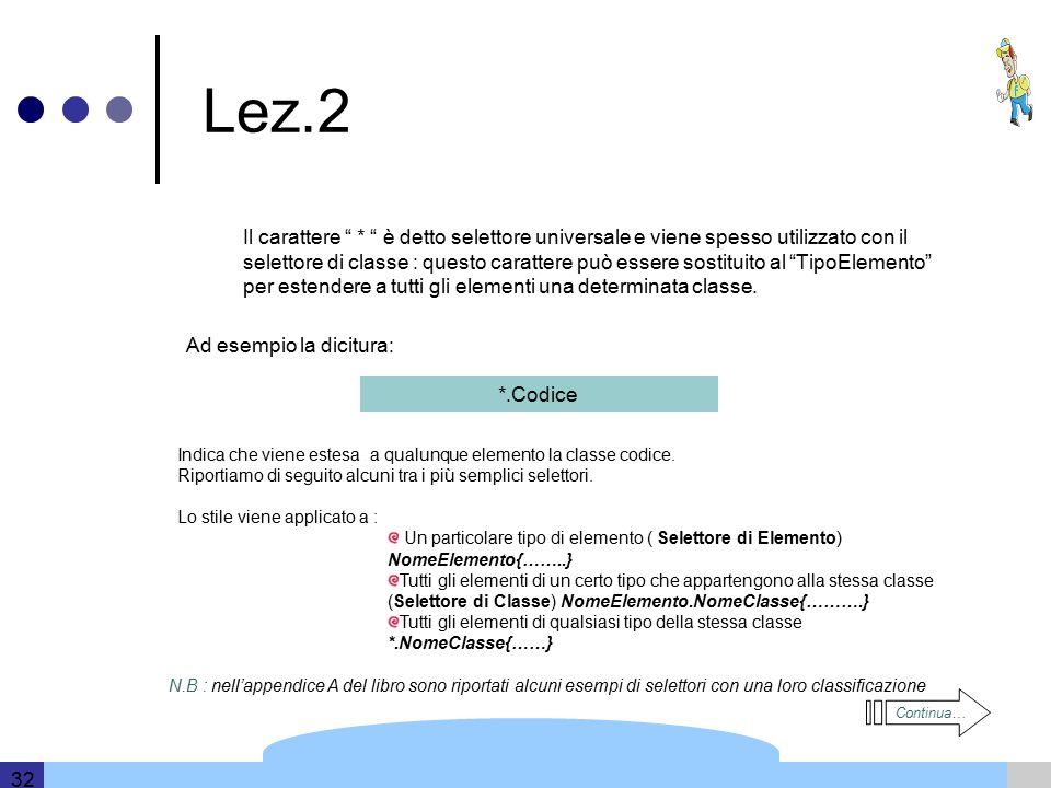 Template and information based on data provided by DERI 32 Lez.2 Il carattere * è detto selettore universale e viene spesso utilizzato con il selettore di classe : questo carattere può essere sostituito al TipoElemento per estendere a tutti gli elementi una determinata classe.