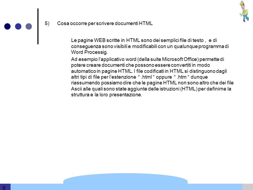 Template and information based on data provided by DERI 9 5) Cosa occorre per scrivere documenti HTML Le pagine WEB scritte in HTML sono dei semplici file di testo, e di conseguenza sono visibili e modificabili con un qualunque programma di Word Processig.
