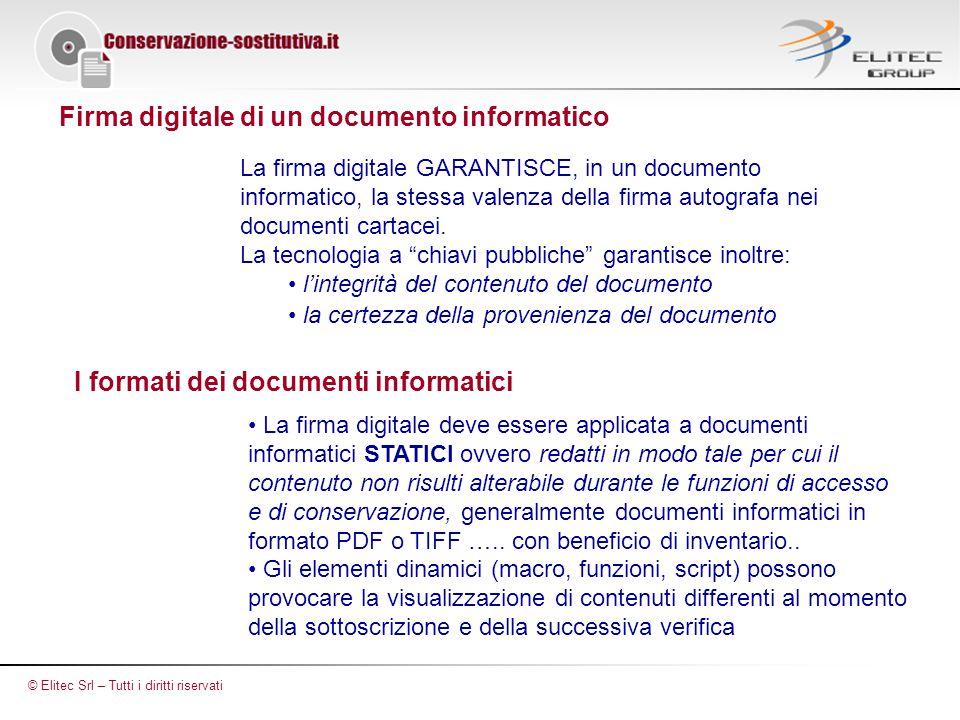 Firma digitale di un documento informatico La firma digitale GARANTISCE, in un documento informatico, la stessa valenza della firma autografa nei documenti cartacei.