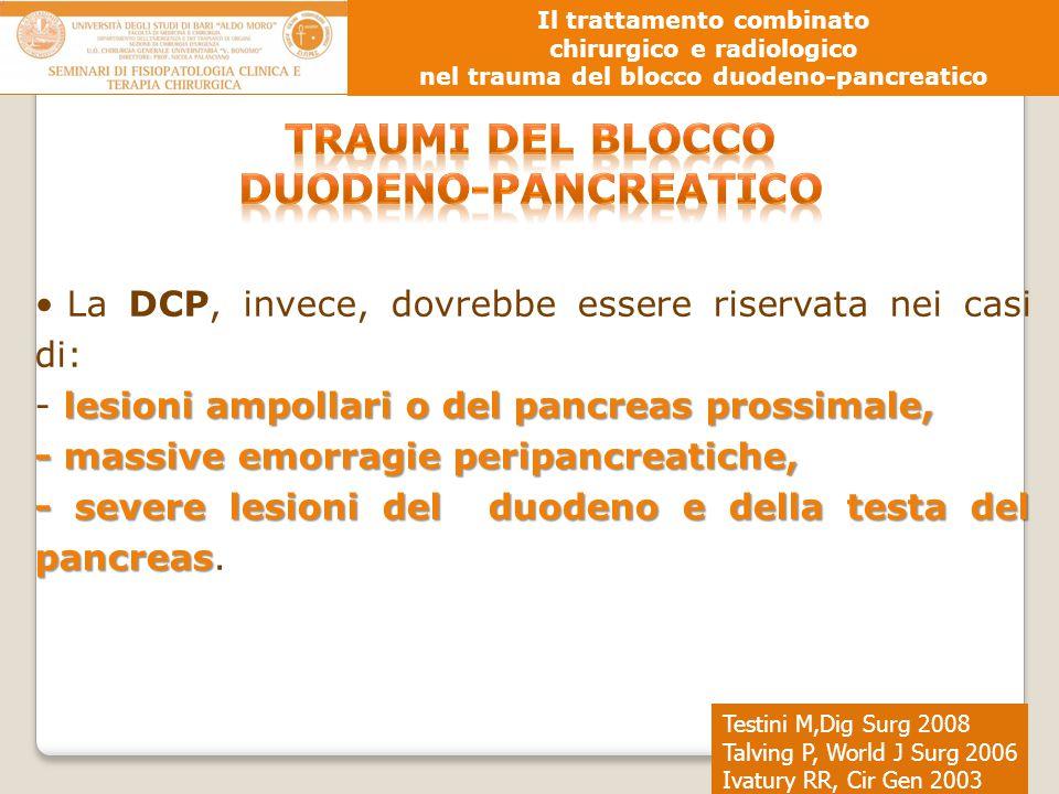 Testini M,Dig Surg 2008 Talving P, World J Surg 2006 Ivatury RR, Cir Gen 2003 Il trattamento combinato chirurgico e radiologico nel trauma del blocco