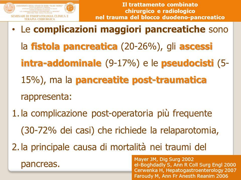 fistola pancreaticaascessi intra-addominalepseudocisti pancreatite post-traumatica Le complicazioni maggiori pancreatiche sono la fistola pancreatica