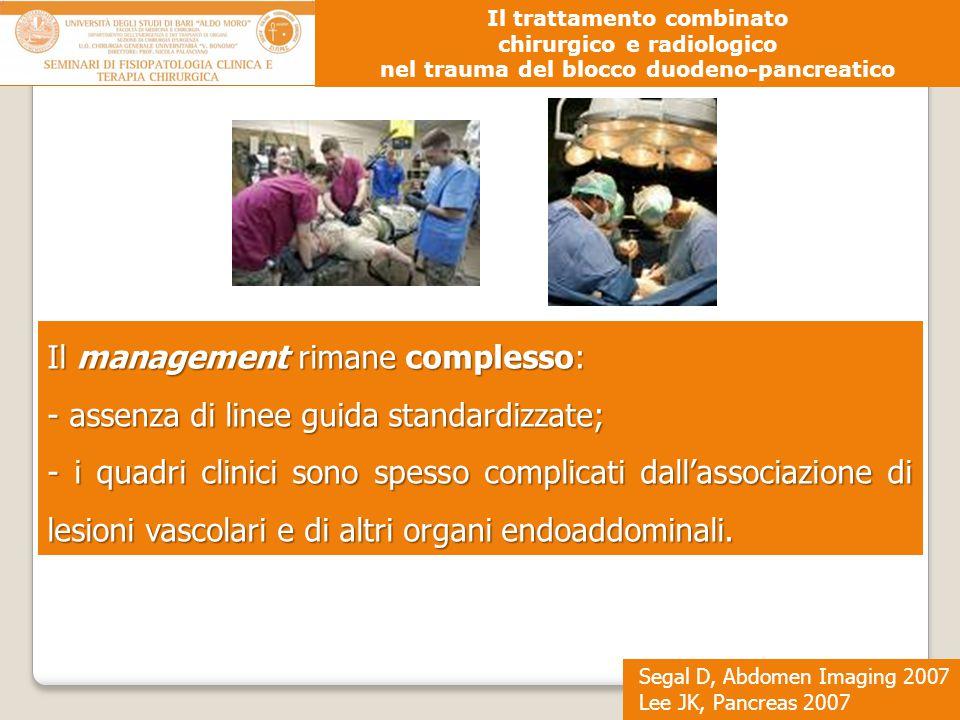 Segal D, Abdomen Imaging 2007 Lee JK, Pancreas 2007 Il trattamento combinato chirurgico e radiologico nel trauma del blocco duodeno-pancreatico Il man