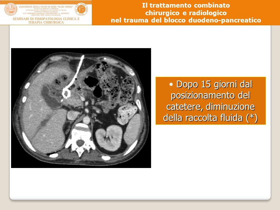 Dopo 15 giorni dal posizionamento del catetere, diminuzione della raccolta fluida (*) Il trattamento combinato chirurgico e radiologico nel trauma del