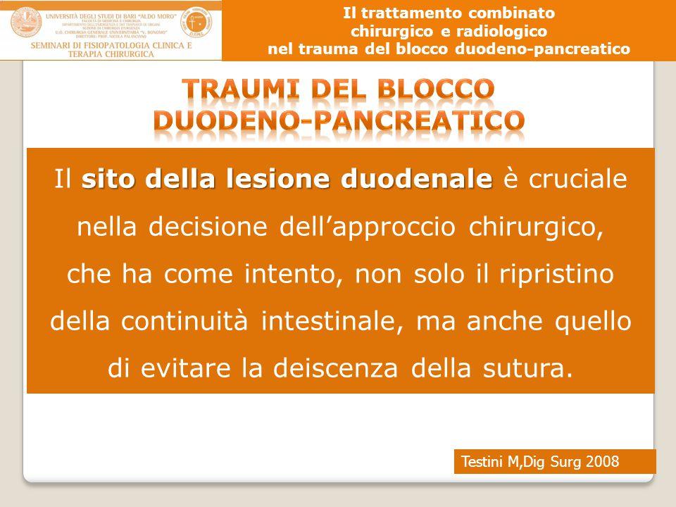 Testini M,Dig Surg 2008 Il trattamento combinato chirurgico e radiologico nel trauma del blocco duodeno-pancreatico sito della lesione duodenale Il si