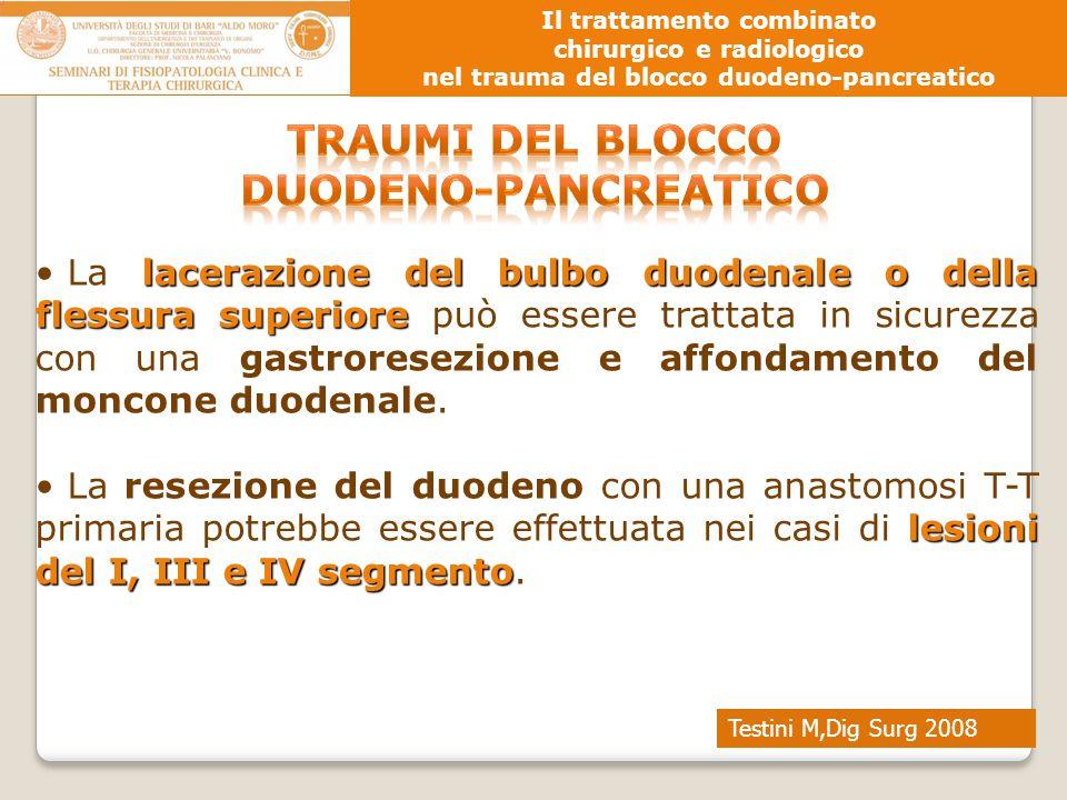 Testini M,Dig Surg 2008 Il trattamento combinato chirurgico e radiologico nel trauma del blocco duodeno-pancreatico lacerazione del bulbo duodenale o