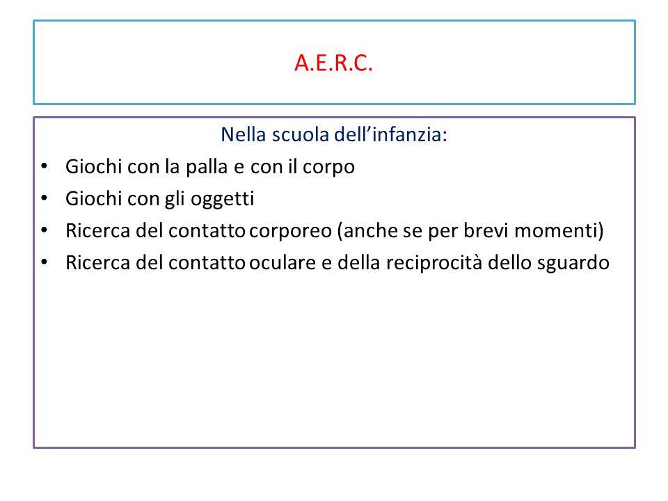 A.E.R.C. Nella scuola dell'infanzia: Giochi con la palla e con il corpo Giochi con gli oggetti Ricerca del contatto corporeo (anche se per brevi momen