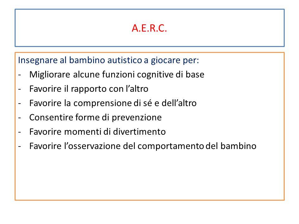 A.E.R.C. Insegnare al bambino autistico a giocare per: -Migliorare alcune funzioni cognitive di base -Favorire il rapporto con l'altro -Favorire la co