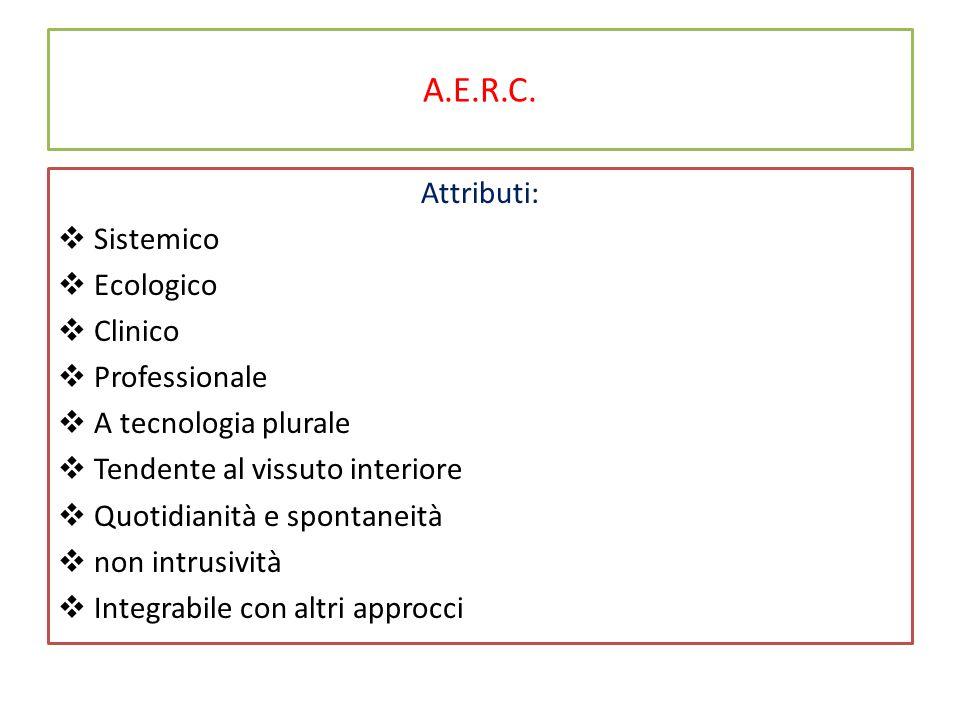 A.E.R.C. Attributi:  Sistemico  Ecologico  Clinico  Professionale  A tecnologia plurale  Tendente al vissuto interiore  Quotidianità e spontane