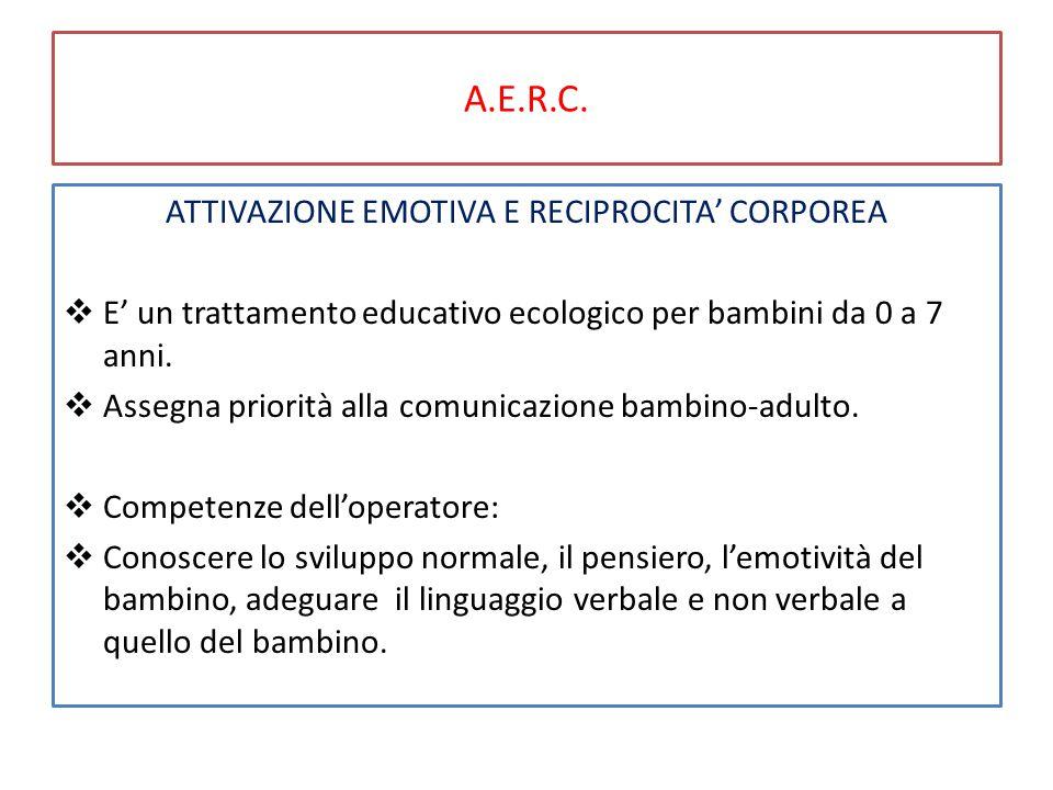 A.E.R.C. ATTIVAZIONE EMOTIVA E RECIPROCITA' CORPOREA  E' un trattamento educativo ecologico per bambini da 0 a 7 anni.  Assegna priorità alla comuni