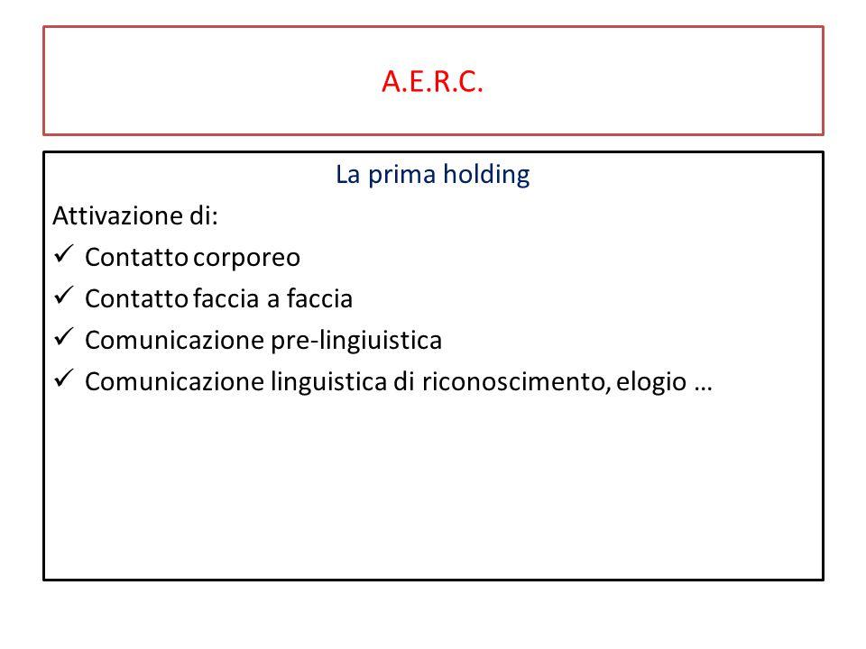 A.E.R.C. La prima holding Attivazione di: Contatto corporeo Contatto faccia a faccia Comunicazione pre-lingiuistica Comunicazione linguistica di ricon