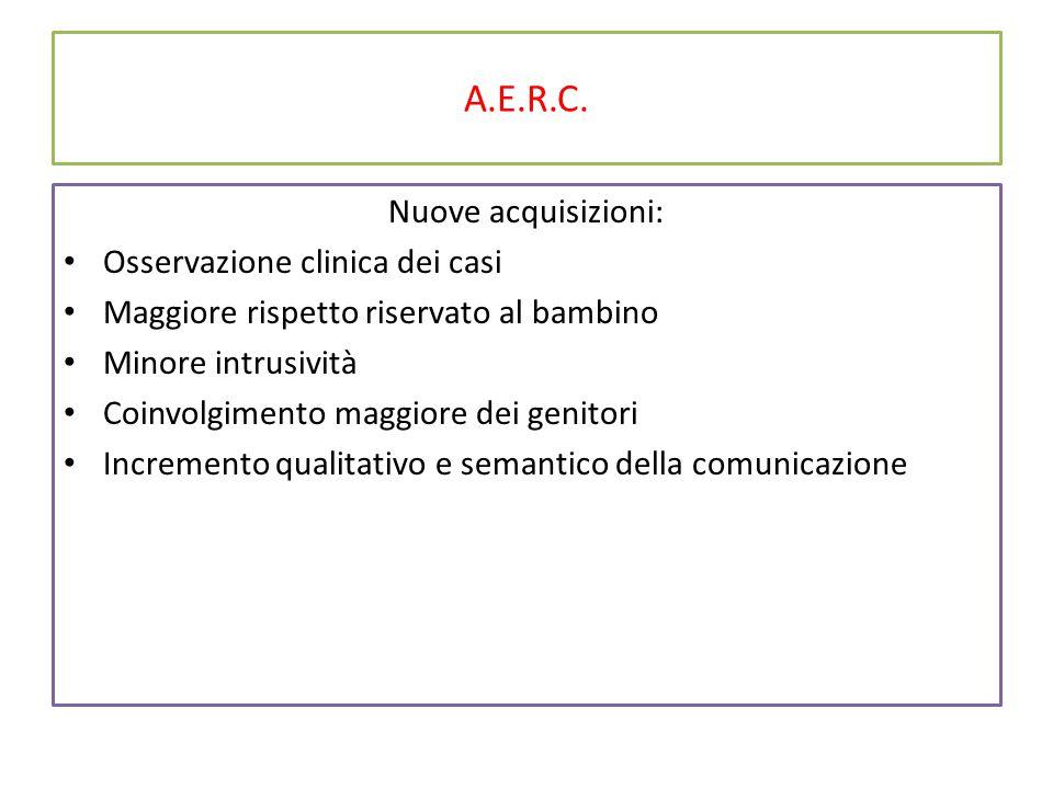 A.E.R.C. Nuove acquisizioni: Osservazione clinica dei casi Maggiore rispetto riservato al bambino Minore intrusività Coinvolgimento maggiore dei genit