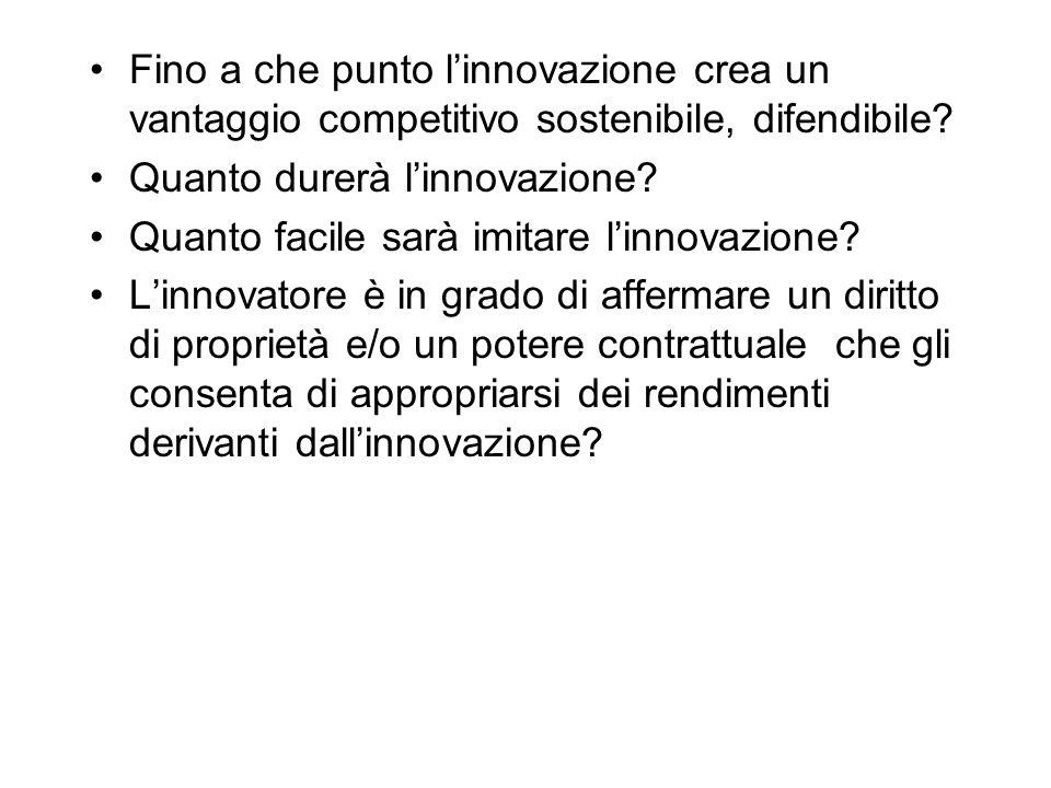 Fino a che punto l'innovazione crea un vantaggio competitivo sostenibile, difendibile? Quanto durerà l'innovazione? Quanto facile sarà imitare l'innov