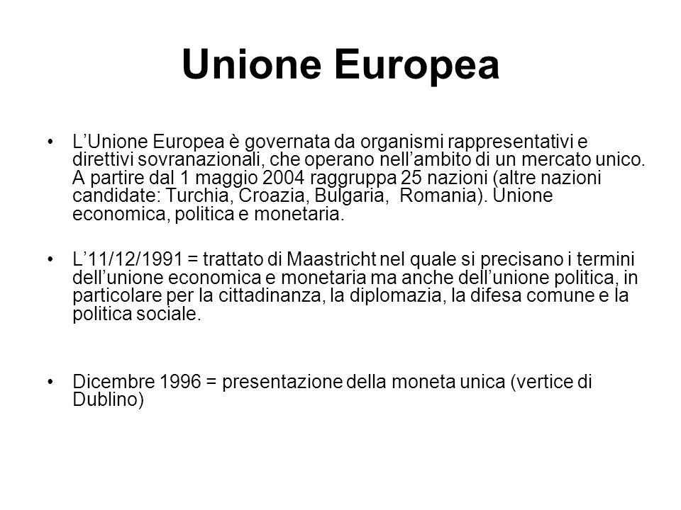 Unione Europea L'Unione Europea è governata da organismi rappresentativi e direttivi sovranazionali, che operano nell'ambito di un mercato unico. A pa