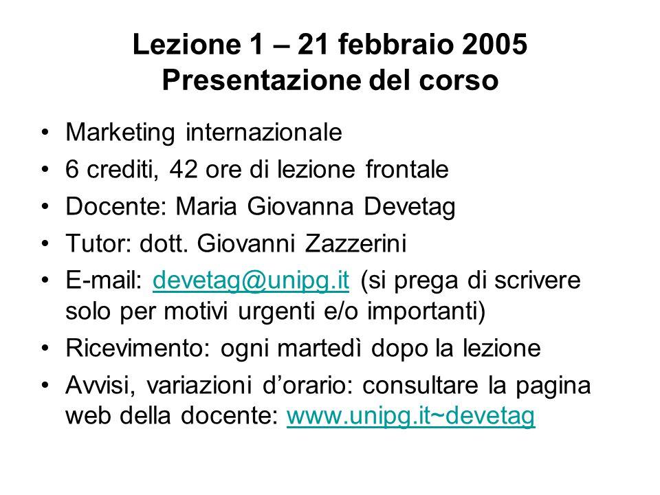 Lezione 1 – 21 febbraio 2005 Presentazione del corso Marketing internazionale 6 crediti, 42 ore di lezione frontale Docente: Maria Giovanna Devetag Tu