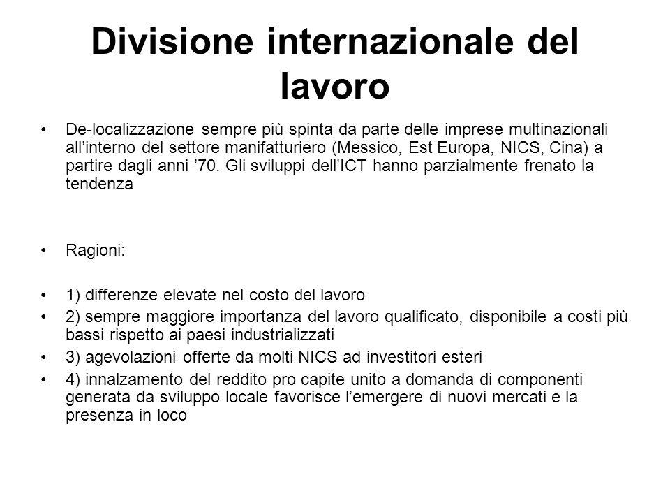Divisione internazionale del lavoro De-localizzazione sempre più spinta da parte delle imprese multinazionali all'interno del settore manifatturiero (