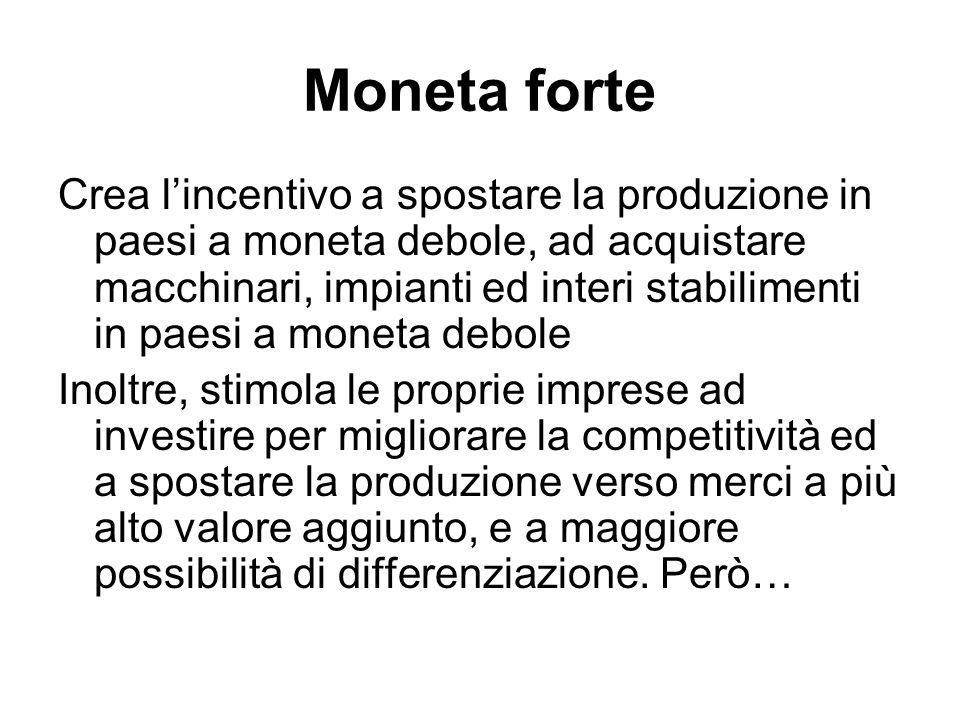 Moneta forte Crea l'incentivo a spostare la produzione in paesi a moneta debole, ad acquistare macchinari, impianti ed interi stabilimenti in paesi a