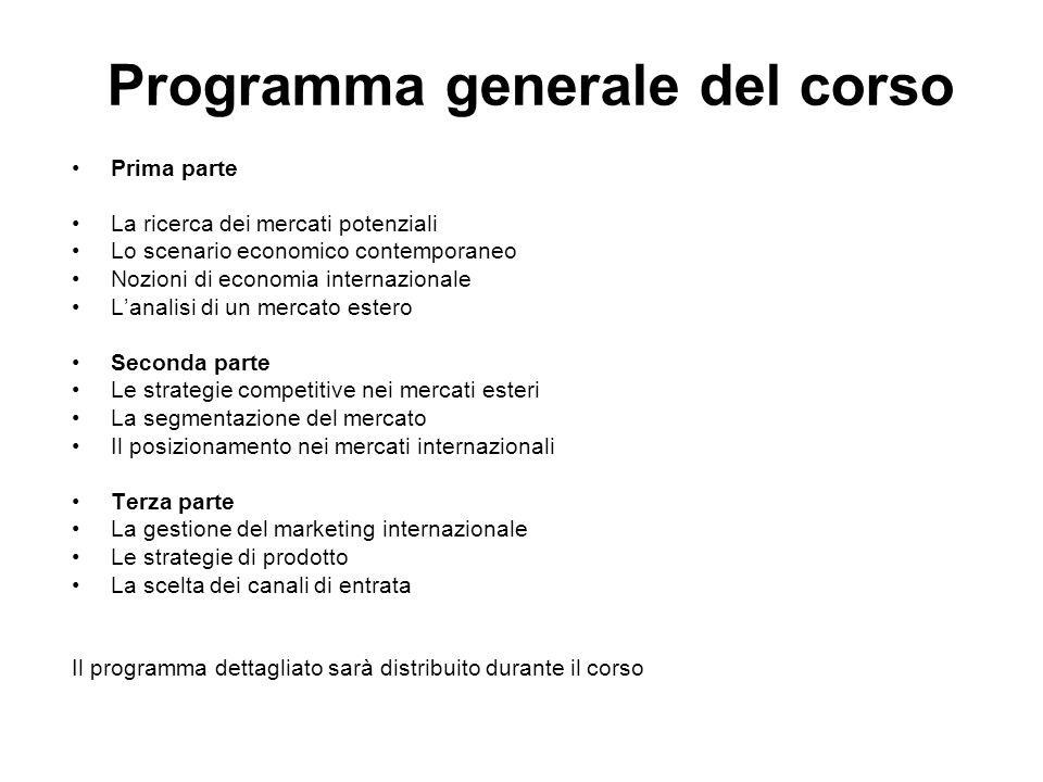 Programma generale del corso Prima parte La ricerca dei mercati potenziali Lo scenario economico contemporaneo Nozioni di economia internazionale L'an