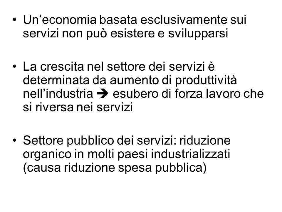 Un'economia basata esclusivamente sui servizi non può esistere e svilupparsi La crescita nel settore dei servizi è determinata da aumento di produttiv