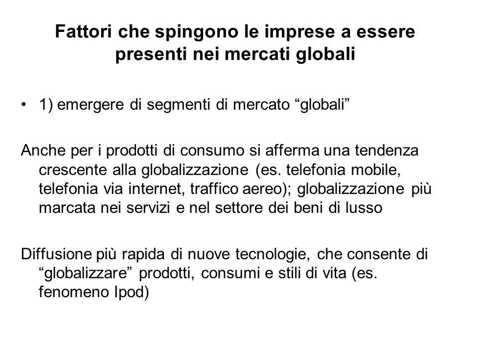 """Fattori che spingono le imprese a essere presenti nei mercati globali 1) emergere di segmenti di mercato """"globali"""" Anche per i prodotti di consumo si"""