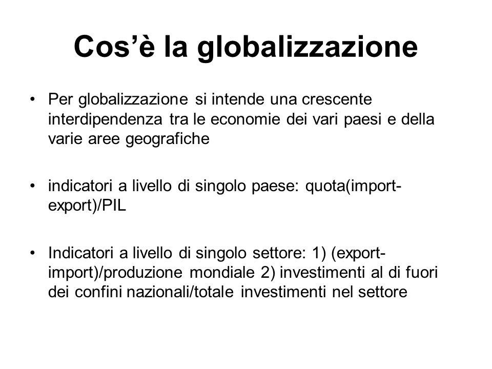 Cos'è la globalizzazione Per globalizzazione si intende una crescente interdipendenza tra le economie dei vari paesi e della varie aree geografiche in