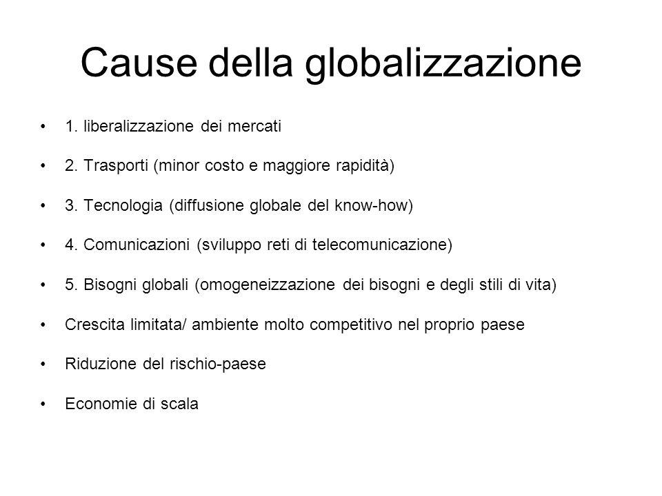 Cause della globalizzazione 1. liberalizzazione dei mercati 2. Trasporti (minor costo e maggiore rapidità) 3. Tecnologia (diffusione globale del know-