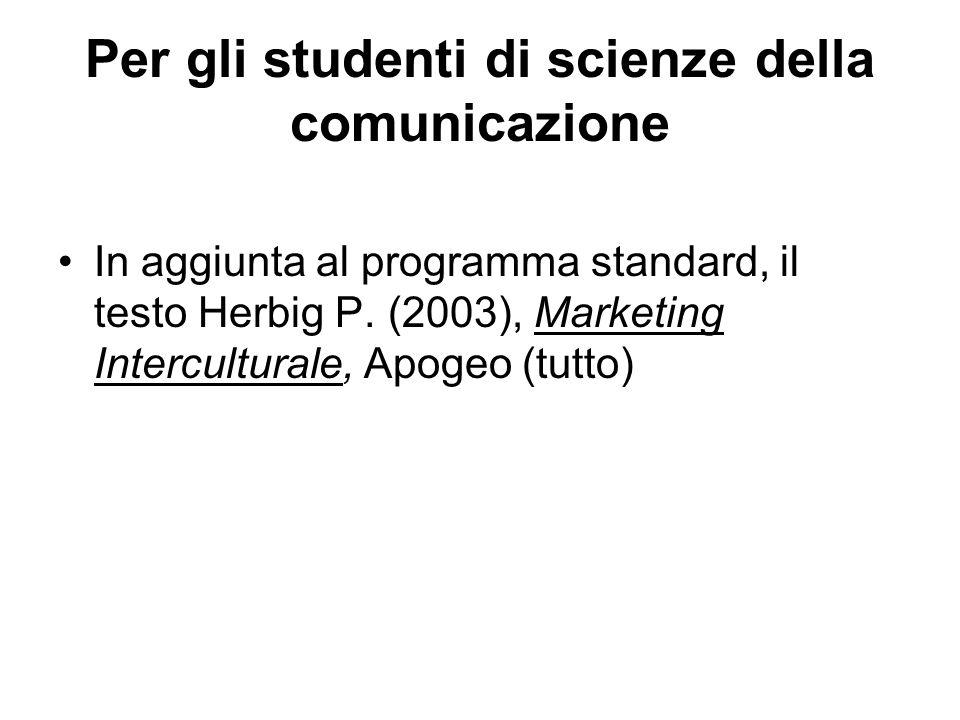Per gli studenti di scienze della comunicazione In aggiunta al programma standard, il testo Herbig P. (2003), Marketing Interculturale, Apogeo (tutto)